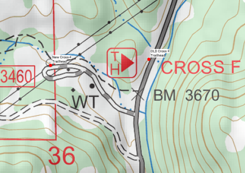New Cross F Trailhead map